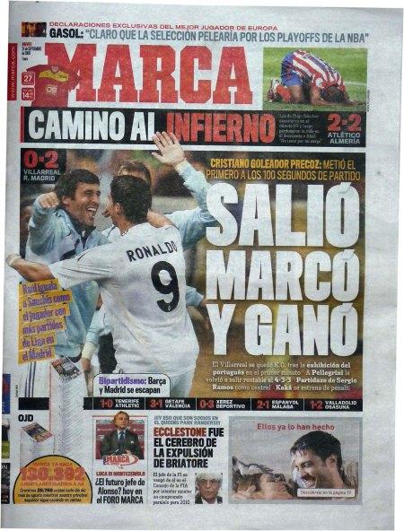 Forside i den spanske sportspresse d. 24 september