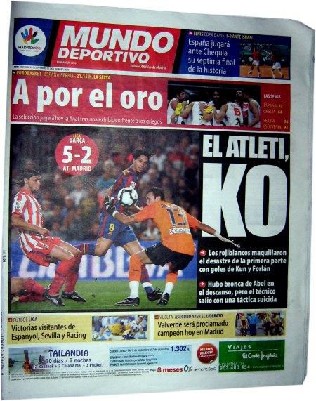 Mundo Deportivo forside El Atleti KO