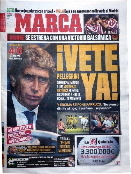 Alcorcon - Real Madrid 4-0 forsidestof til sportspressen