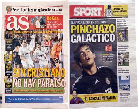 AS sportsavis fra Madrid og Sport sportsavis fra Barcelona