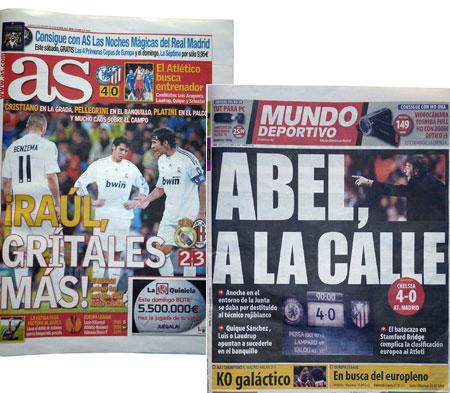 Spansk sportspresse forsider torsdag 22/10 2009