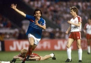 Platini Frankrig 1984 trøje i kamp mod Danmark