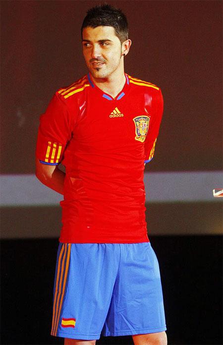 Spanien trøje fremvist af David Villa