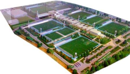 Model af Ciudad Real Madrid i Valdebebas i det nordlige Madrid