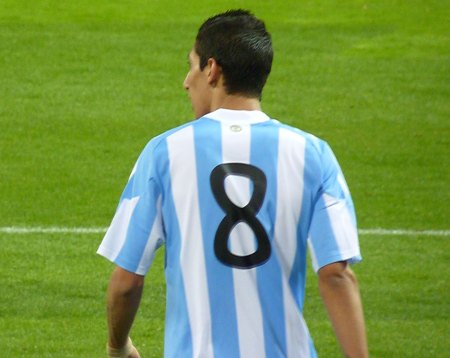 Angel Di Maria for Argentina med rygnummer 8